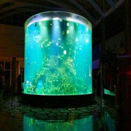 cina kustom murah super besar putaran kaca akuarium PMMA silinder jelas tangki ikan akrilik