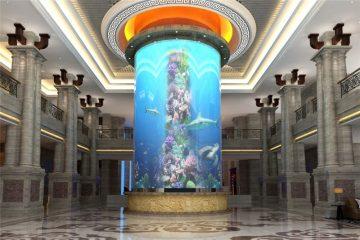 tangki ikan akuarium silinder besar